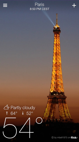 تطبيق Yahoo Weather لمعرفة الطقس