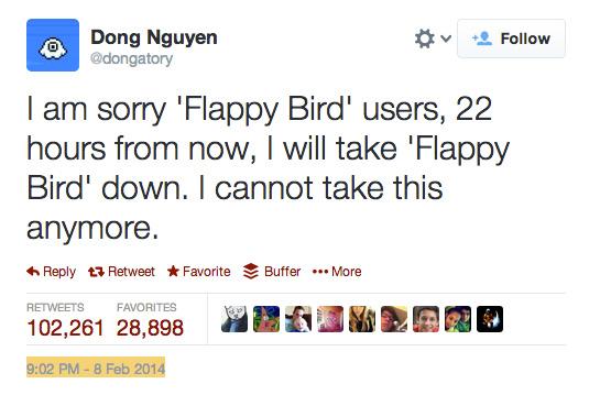 تغريدة نهاية Flappy Bird