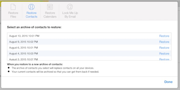Restore contacts icloud