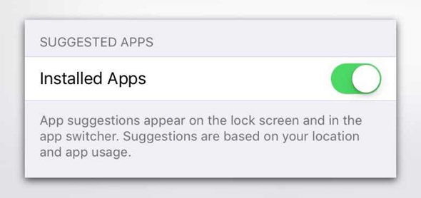 iOS 9 suggested apps on lock screen