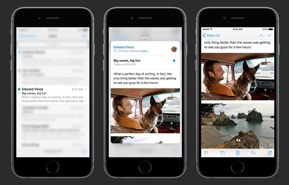 3D touch in mail app