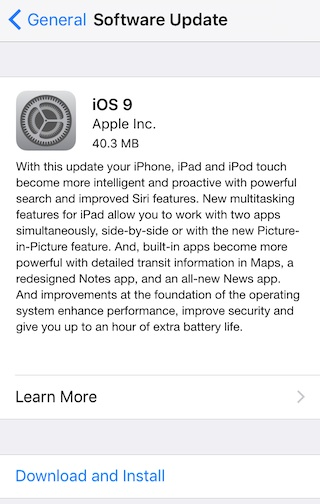 iOS 9 Gm Update