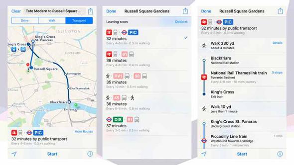 public transit directions in iOS 9