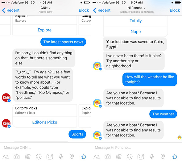 messenger bot defects screenshot