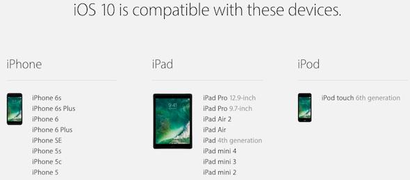 iOS 10 Device List